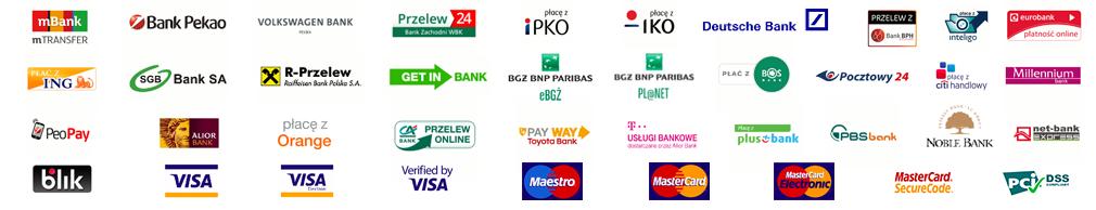 Grafika przedstawiająca logotypy banków oraz dostępnych form płatności między innymi: mbank, Bank Pekao, Ing, Visa, Mastercard, iPKO, Getin Bank
